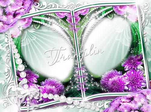 Цветочная рамка для фото – Раскрытая книга с хризантемами
