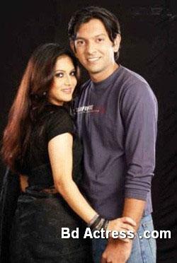 Bangladeshi Model Mithila and her husband smile
