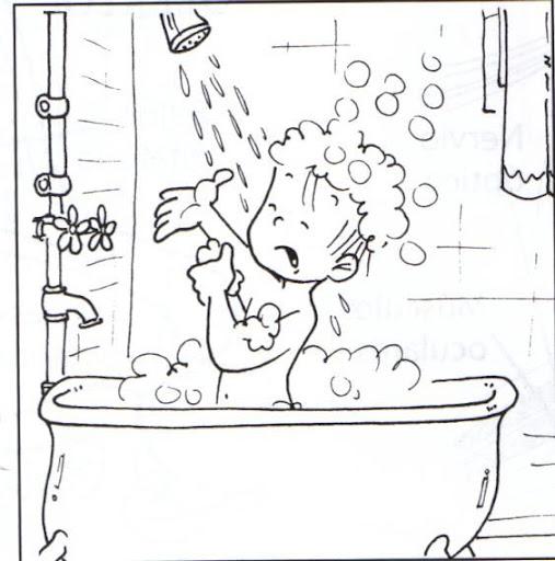 Niño bañandose en la ducha para colorear - Imagui