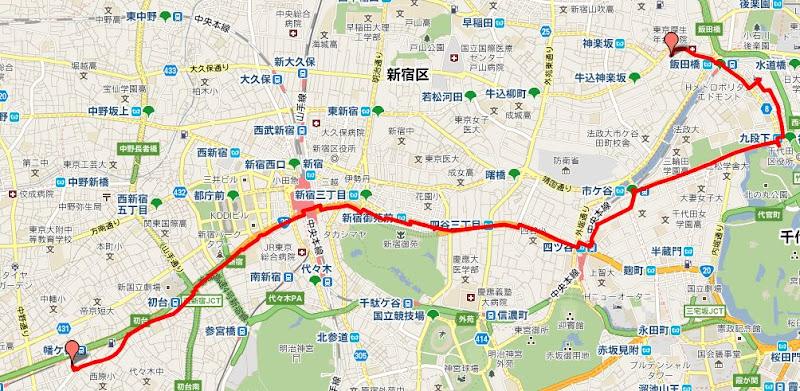 2011/03/11りの徒歩での帰宅ルート