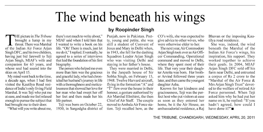 Teji Arjan Singh, a tribute published as a middle in The Tribune