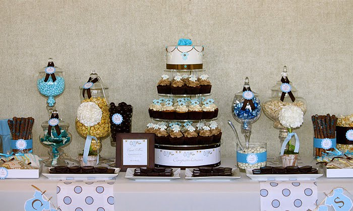 Beautiful Brown and Blue Dessert Table