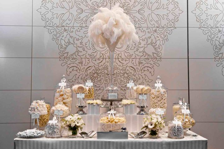 Stunning All White Candy Buffet