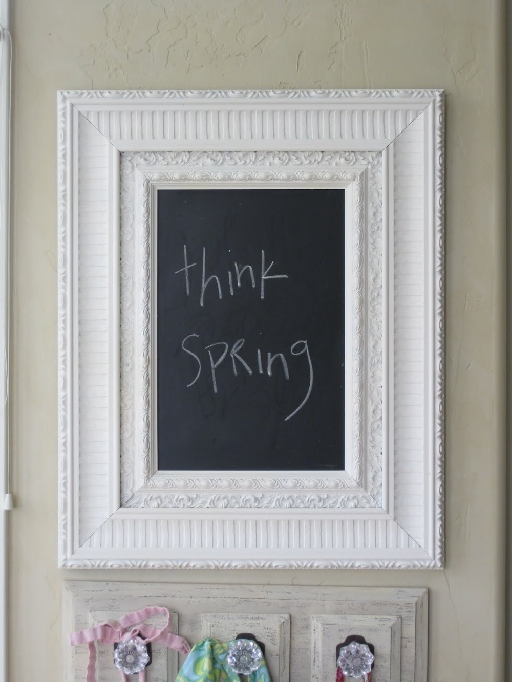 Shabby Chalkboard and Hooks