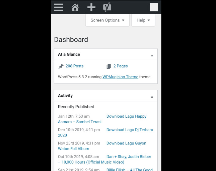 dashboard aplikasi wordpress