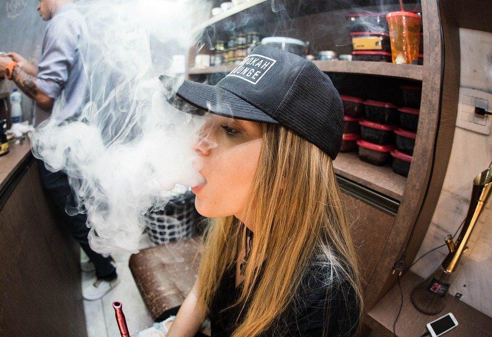 Woman, Girl, Lady, Cap, Smoke, Vape, Man, Tattoo