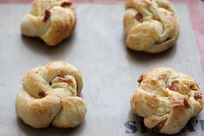 photo of four Bacon Brioche breads