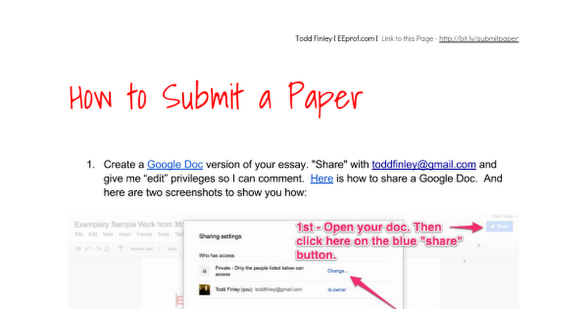 how to submit a paper google docs
