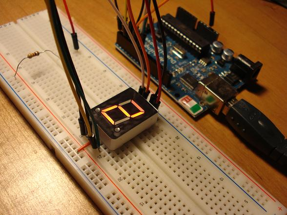 seven segment display counter connected to an arduino board