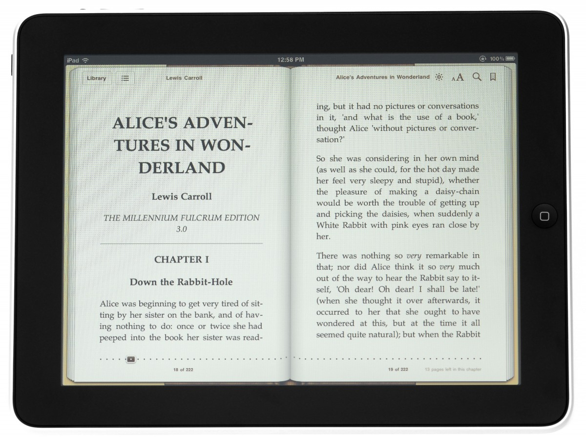 Reading a book on a tablet w/ two pages being displayed at a time