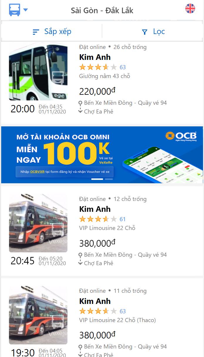 Giờ xuất bến của hãng xe Kim Anh