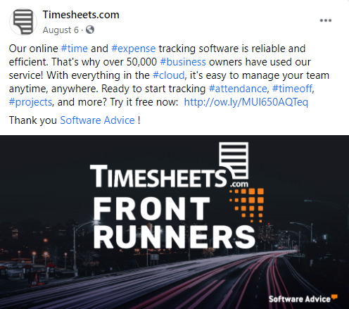 "A social media post from Timesheets.com. The post reads ""Our online #time and #expense tracking software is reliable and efficient. That's why over 50,000 #business owners have used our service! With everything in the #cloud, it's easy to manage your team anytime, anywhere. Ready to start tracking #attendance, #timeoff, #projects, and more? Try it free now:  https://secure.timesheets.com/free-trial""  Thank you Software Advice!"