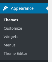 wordpress dashboard appearance options