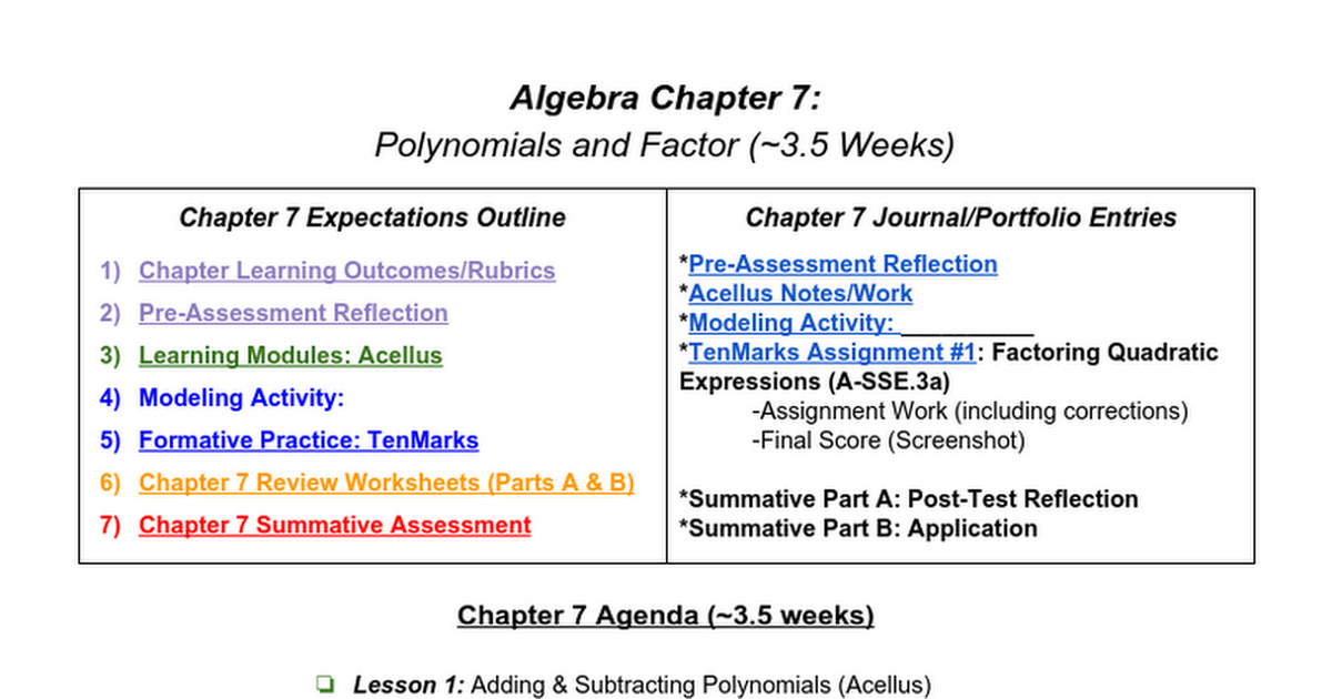 Algebra Chapter 7 Polynomials And Factoring Expectations Google