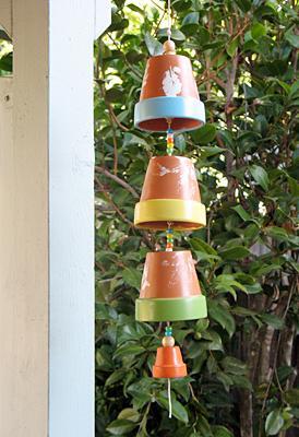 Flower pot  homemade wind chimes