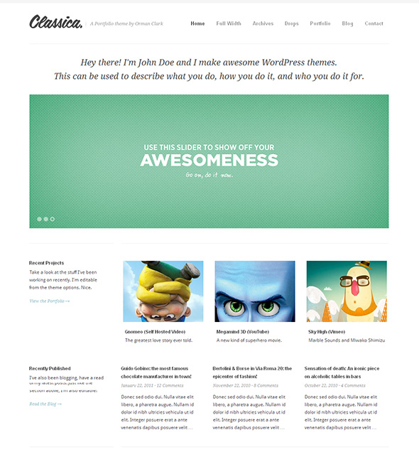 Classica Minimalist Design WordPress Theme