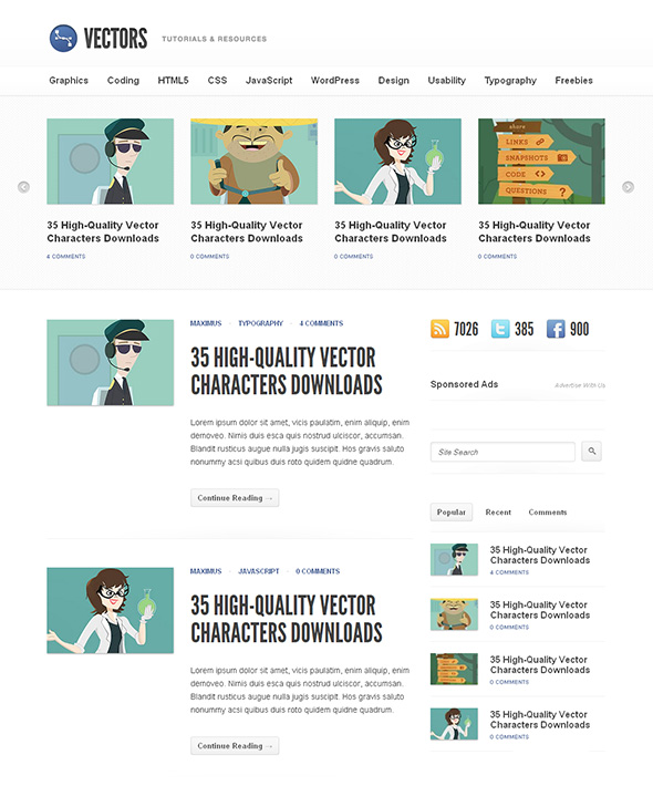 Vectors Minimalist Design WordPress Theme