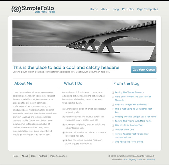 SimpleFolio Clean WordPress Theme