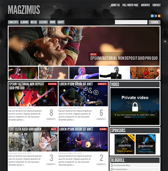 Magzimus WordPress Theme for Bands