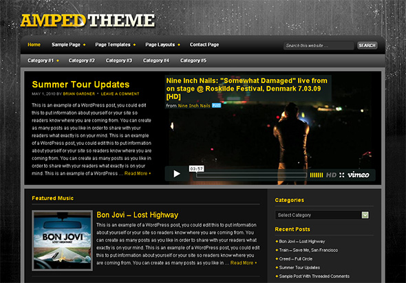Amped WordPress Theme for Bands