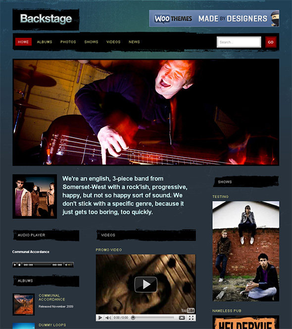 Backstage WordPress Theme for Bands