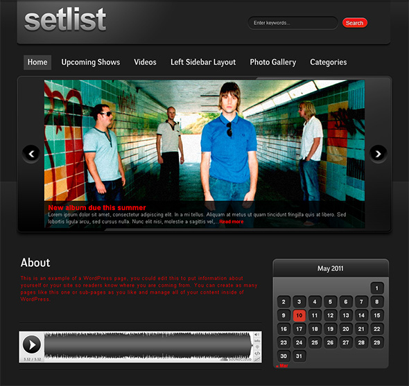 Setlist WordPress Theme for Bands and Musicians