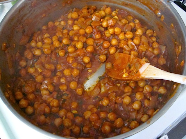 thickened chick peas done cooking