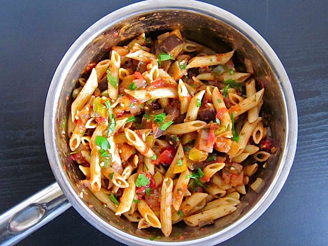 finished eggplant caponata pasta