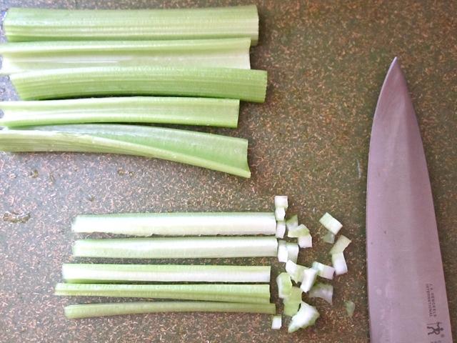 chop celery
