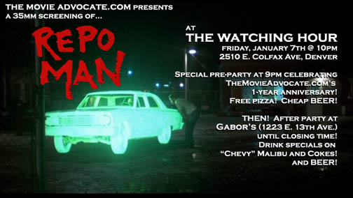 Movie Advocate 1-Year Anniversary Party: Repo Man at the Watching Hour!