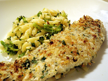 Lemon Parmesan Crusted Tilapia with Broccoli Orzo
