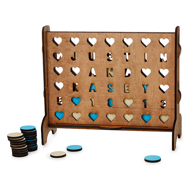 personalized wooden four-across game