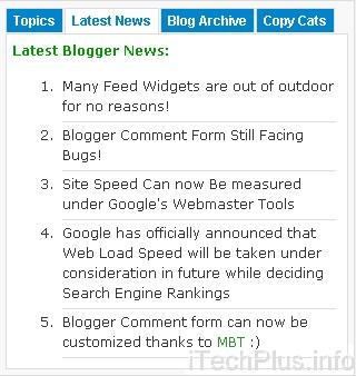 Advanced Multi Tabbed Widget For Blogger – Fully Widgetized!