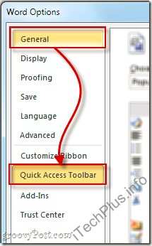 Chọn tiếp General > Quick Access Toolbar