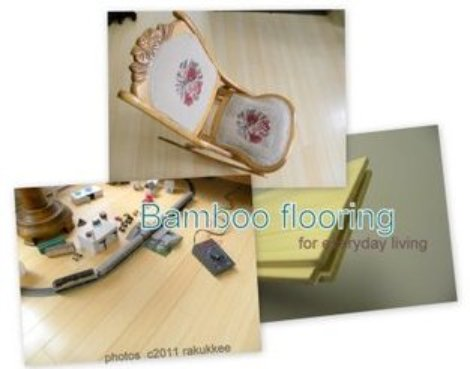3 views of bamboo flooring