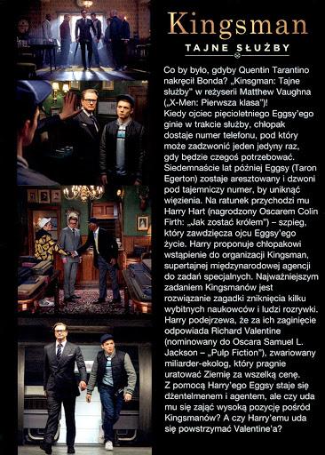 Tył ulotki filmu 'Kingsman: Tajne Służby'