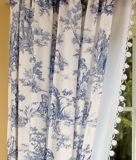 Blue Toile Curtains Window Curtains Blue Toile Cotton Window Curtain Panels By Ichcha Shower