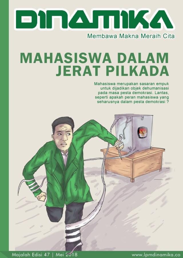 """Pemilihan Gubernur Sumatera Utara (Pilgubsu) 2018 sebentar lagi. Biar gak """"Samil"""" (Salah Milih), baca kiat - kiatnya langsung dari kepala KPU Sumut, Mulia Banurea. Mengulik peran mahasiswa dalam Pilkada, pada majalah 47 ini tidak bosan menyampaikan kepada kawan - kawan soal potensi - potensi kekacauan yang bisa terjadi. Kita juga tidak bosan menyampaikan kepada kawan - kawan soal potensi - potensi kekacauan yang bisa terjadi. Kita juga tidak bosan menyampaikan perkembangan UIN SU melalui rubrik Reportase Khusus tentang jurus baru UIN SU melakukan pembangunan sekaligus 9 - 10 proyek pembangunan di tahun ini. Bagaimana kelanjutannya? Temukan jawabannya di majalah 47."""