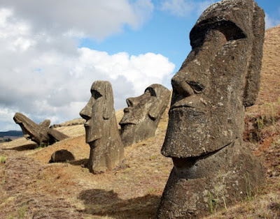 Rano Raraku quarry moai on Easter Island in Chile