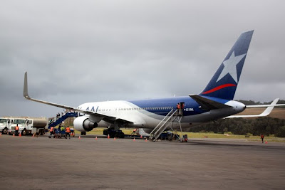 LAN plane at Easter Island airport
