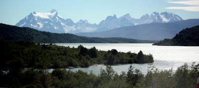 Mountains and a lake in Patagonia Chile