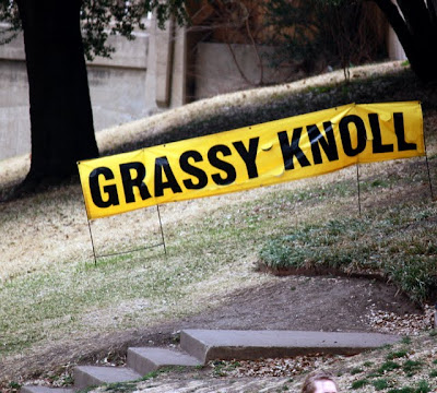 Grassy Knoll sign at the Dallas Texas JFK Memorial