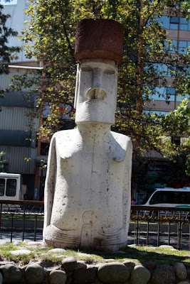 Moai statue in Santiago Chile