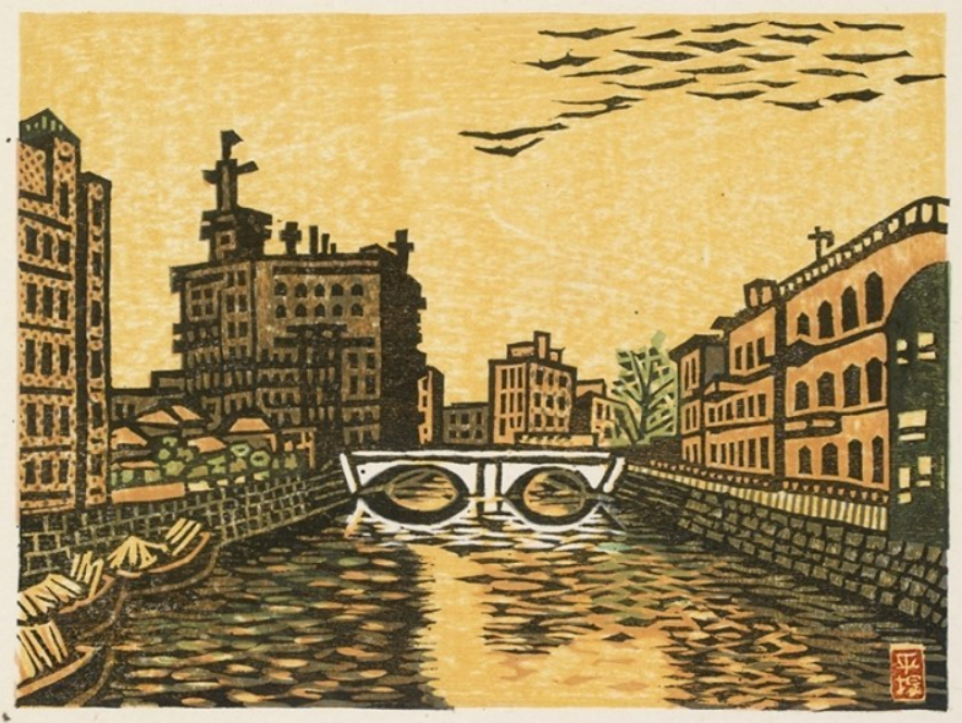 woodblock print of italy canal