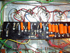 The preamp board wired up. This is the original preamp board. The circuit was adding a simple reverb circuit that totally ruined the sound of the amp so later we bypassed and removed this part of the circuit. The third socket from the left and its associated circuitry were removed.
