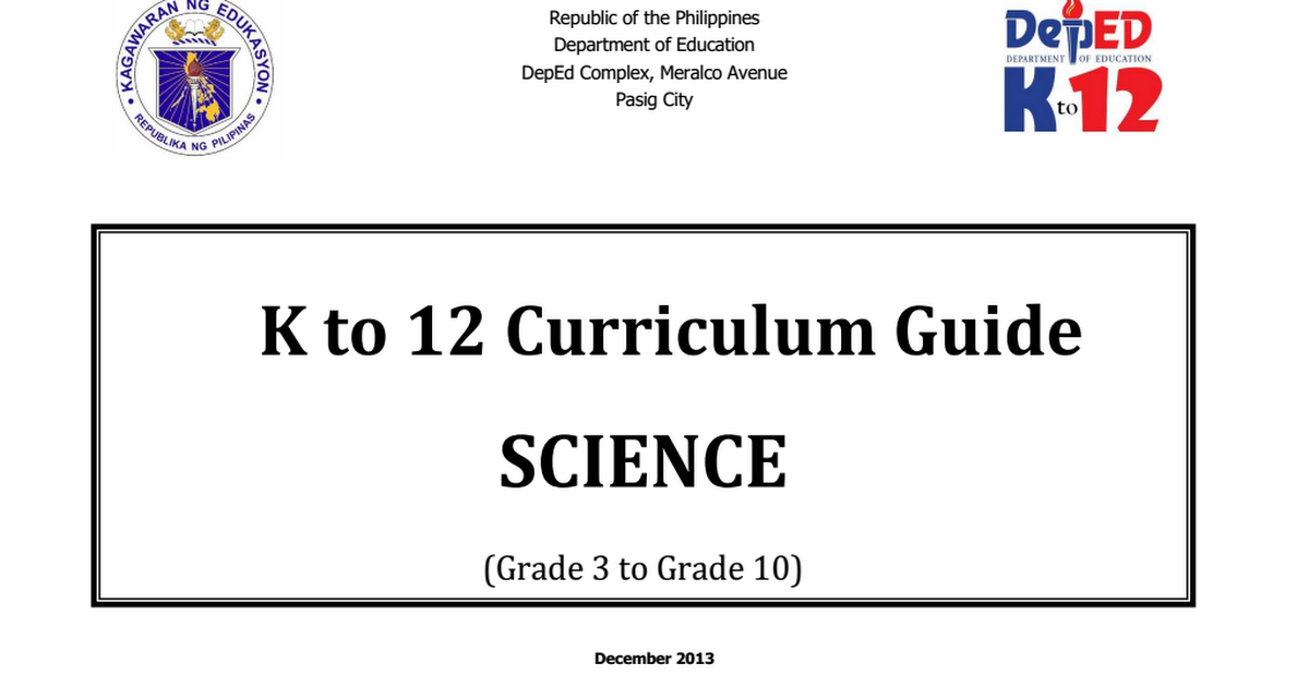 Science Curriculum Guide Grades 3-10 December 2013 pdf
