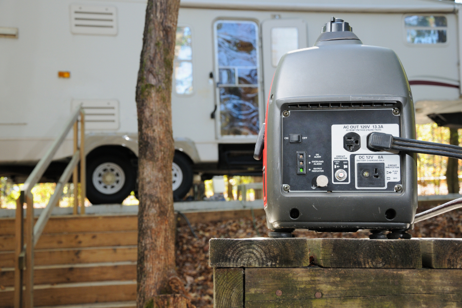 generator at a campsite