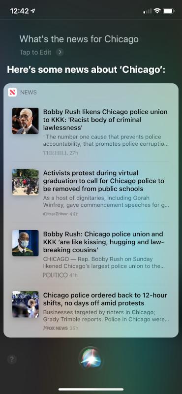 Siri UI for news