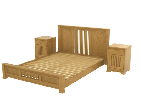 Hillside Platform Bed and Nightstands with Door, in Cinnamon Oak