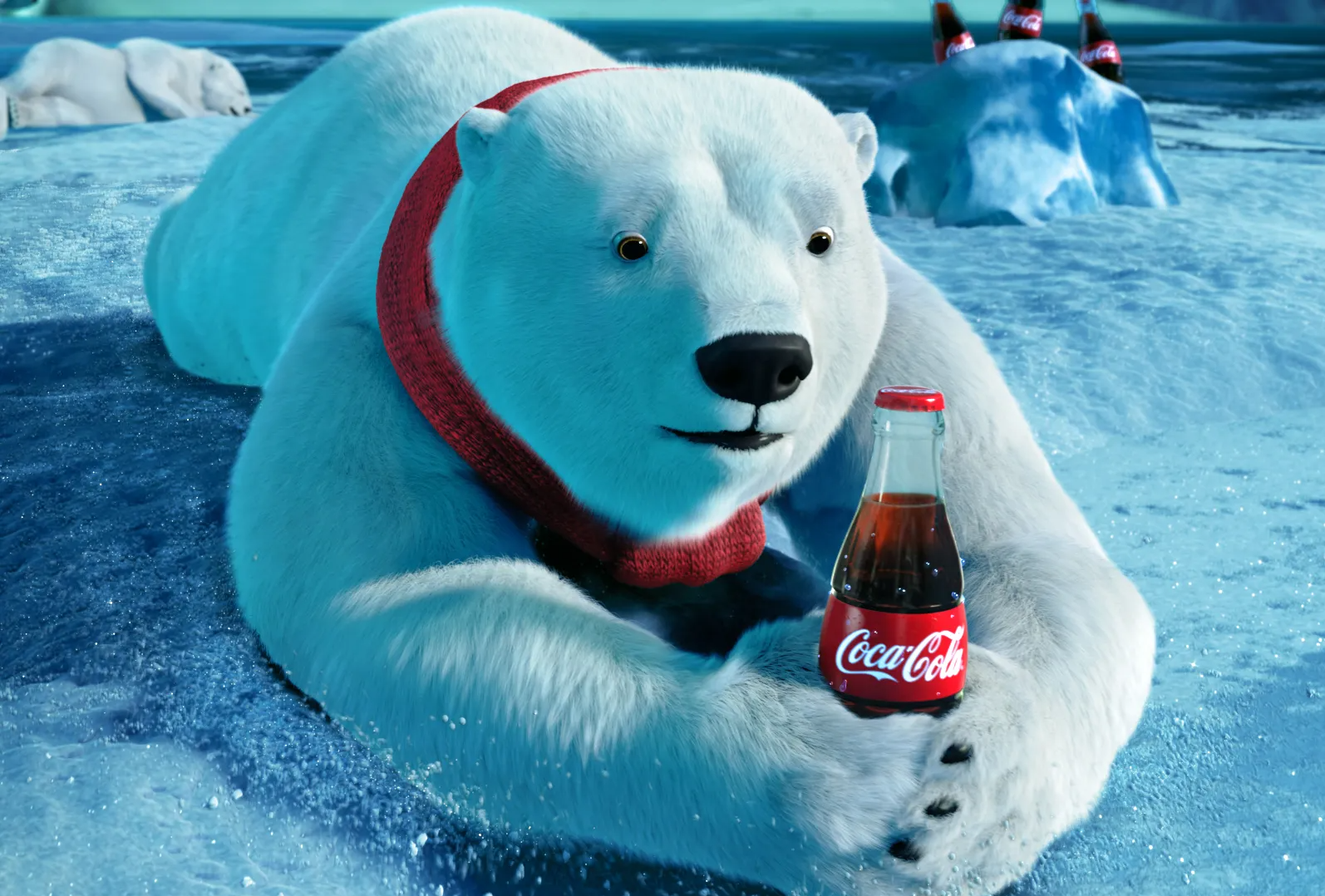 A polar bear on an iceberg wears a red scarf and holds a classic bottle of Coca-Cola.